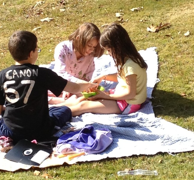 A picnic in the front yard!